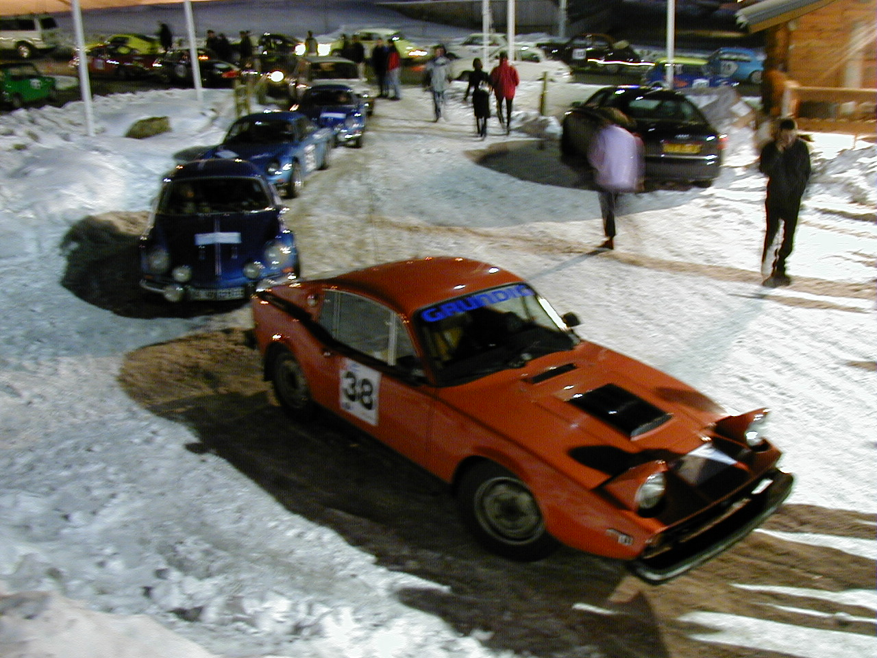 """Here we are lined up with the """"fast cars"""" for the icetrack."""